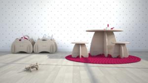 tavolo e sgabelli di design in legno a misura di bambino