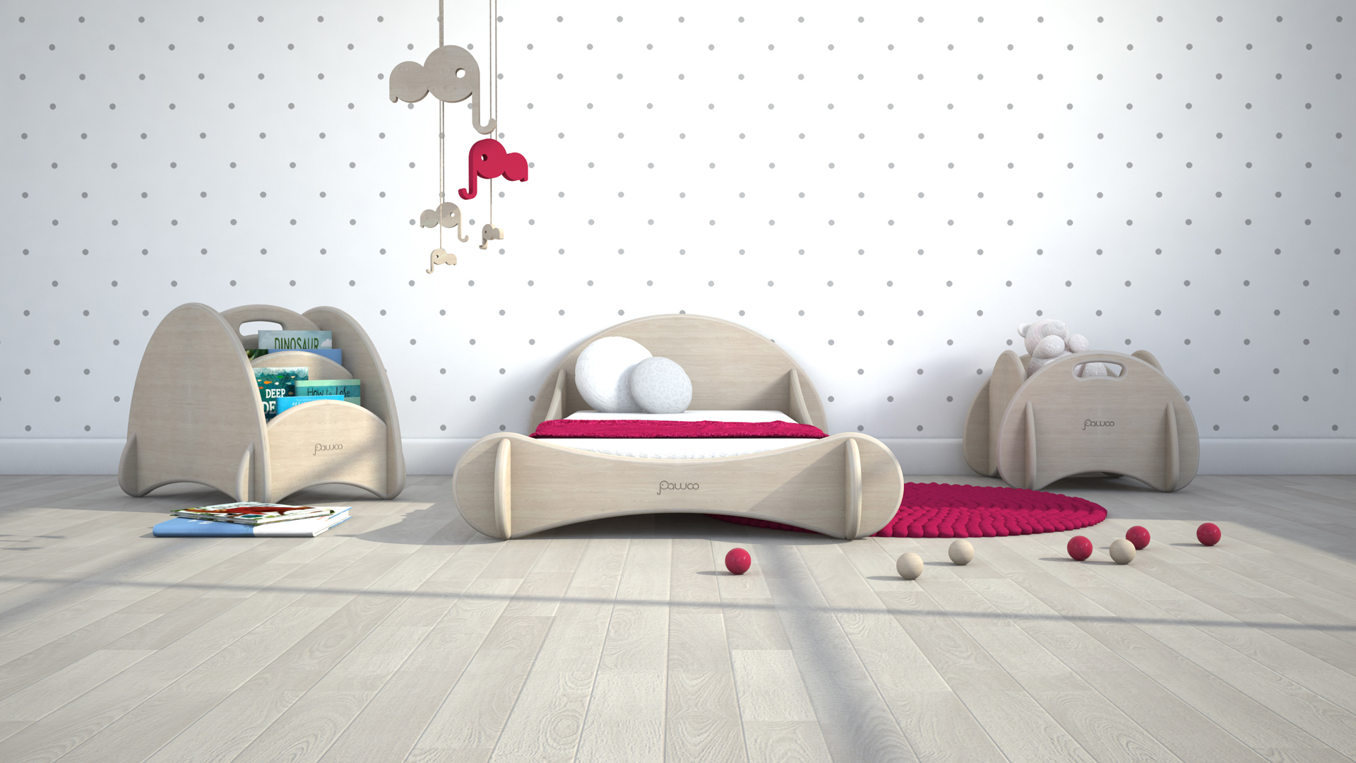 camera da letto di design stile montessori per bambini