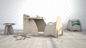 scrivania e sedia di design in legno per bambini