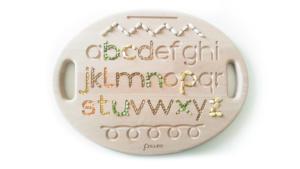 tavoletta sensoriale in legno con alfabeto numeri e tracciati