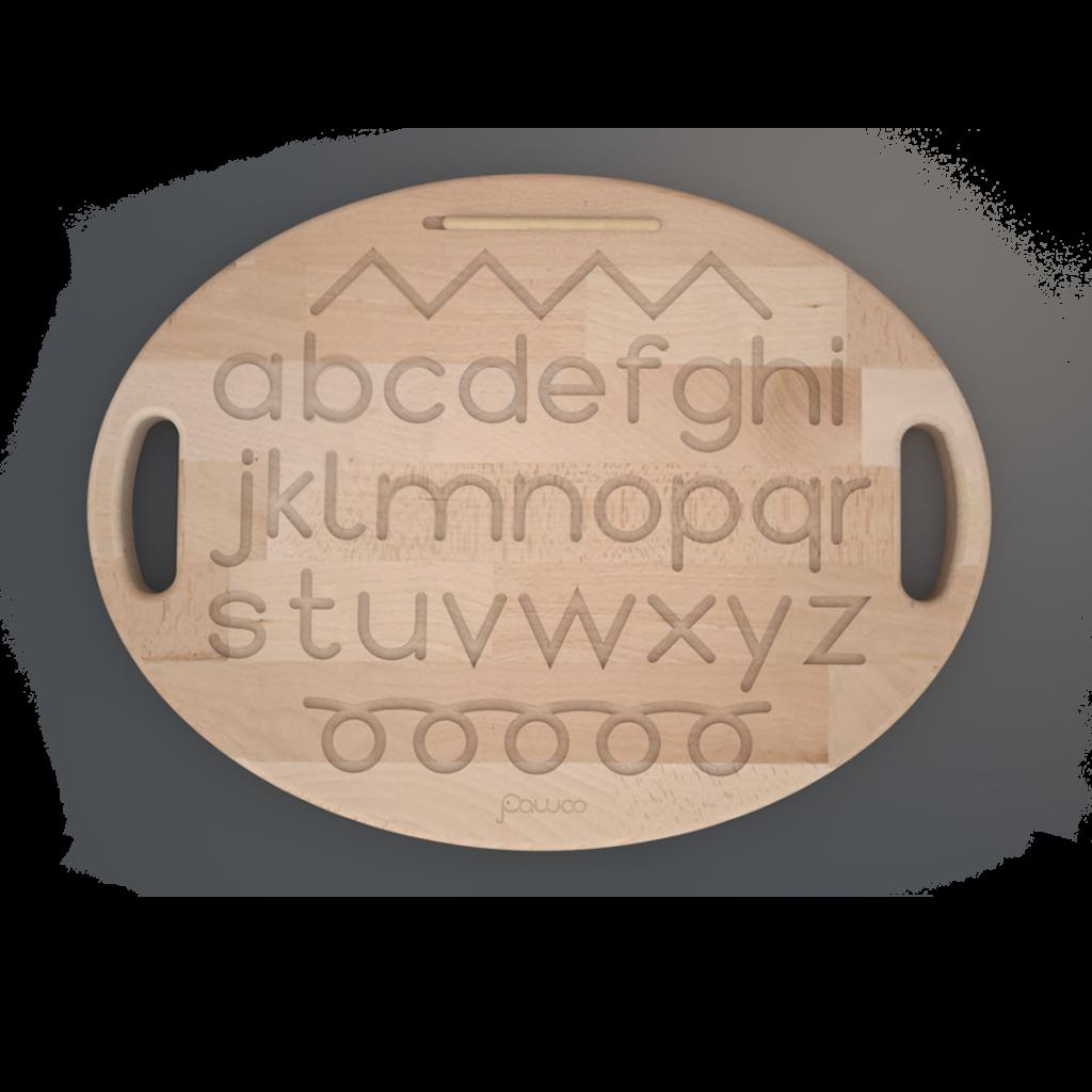 tavoletta sensoriale in legno reversibile con alfabeto e numeri