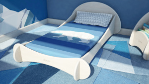 camera da letto in legno stile montessori per bambini con grafica montagne innevate