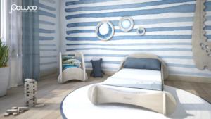 camera da letto per bambini carta da parati acquarello