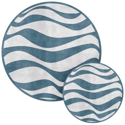 tappeto handtufted a onde bianco blu