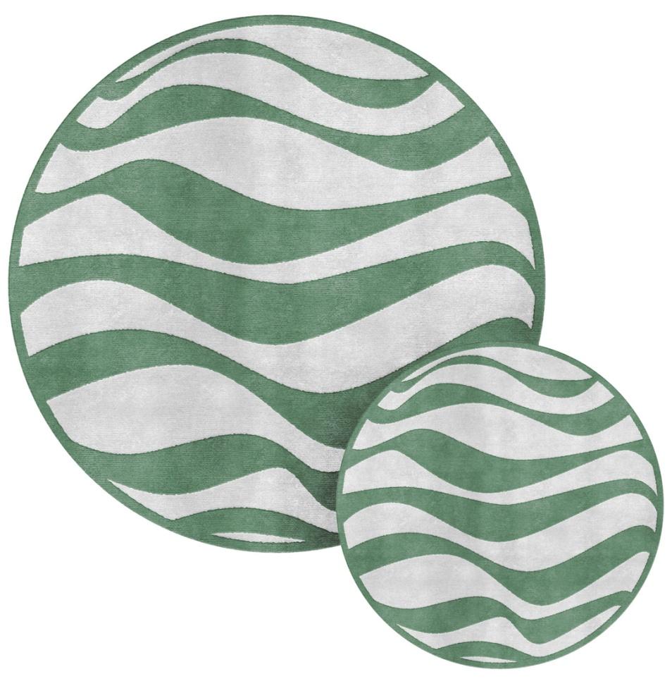 tappeto handtufted a onde bianco verde