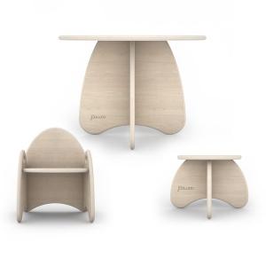tavolino sedia e sgabello in legno per bambini