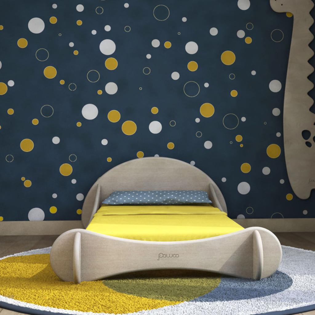 cameretta montessori blu e gialla