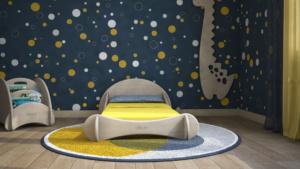 selezione soft furnishing cameretta montessori blu e giallo
