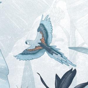 dettaglio della carta da parati per bambini tropicale blu con un pappagallo