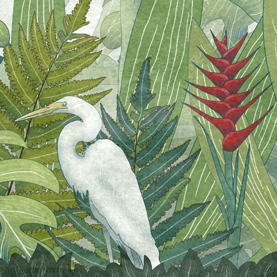 dettaglio della carta da parati per bambini tropicale verde con un airone