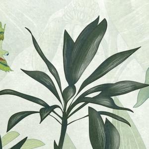 dettaglio della carta da parati per bambini tropicale verde con foglie