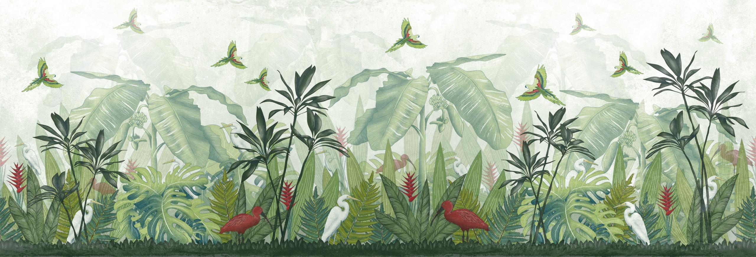 carta da parati per bambini tropicale verde